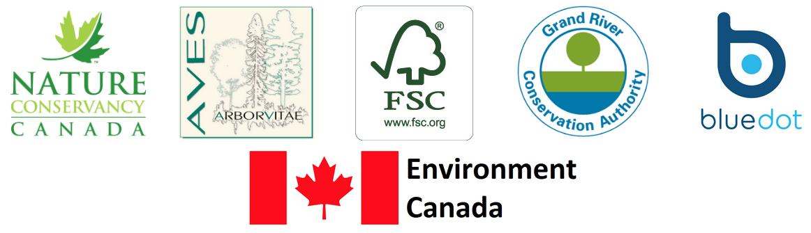 Nature Conservancy Canada, Aves Arborvitae, FSC, GRCA, bluedot, Environment Canada logos