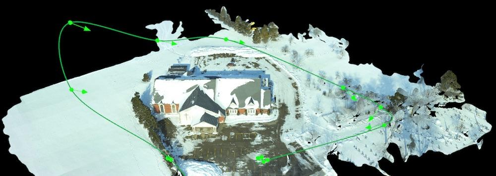 Point cloud data with flight path.