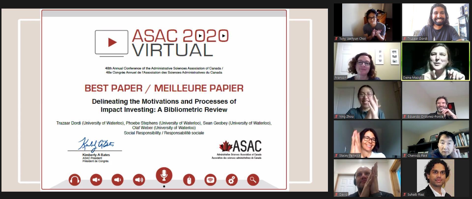 ASAC Best Paper Award Image