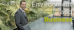 Environment and Business with a background of a man in a suit in front of a living wall.