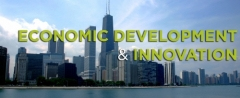 Economic Development and Innovation with a background of skyscrapers.