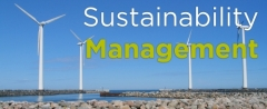 Sustainability Management with a background of wind turbines along the coast.