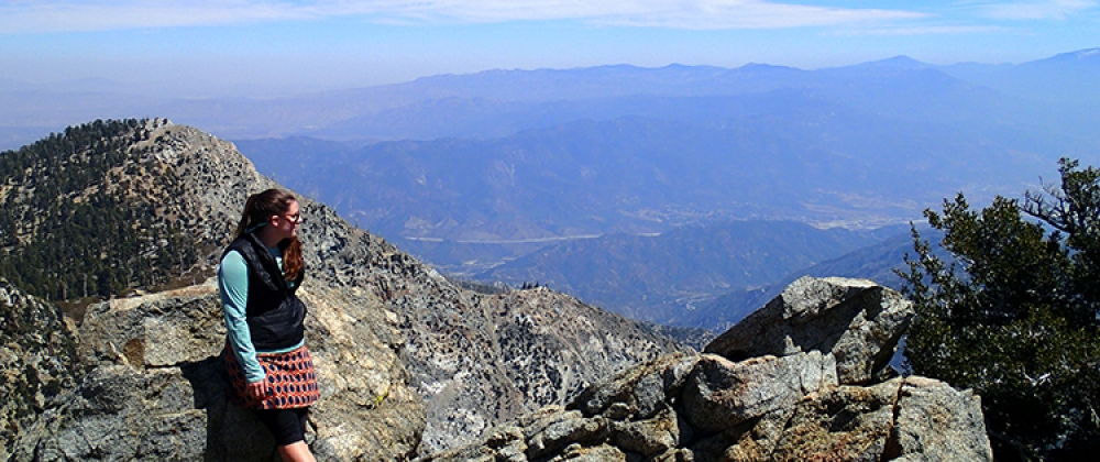 Dani taking in the breathtaking view after ascending Cucamonga Peak in her native California.