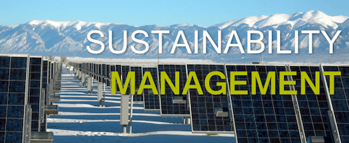 Sustainability Management with a background of solar panels in the winter.