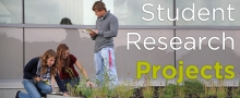 Student research projects button with students working in flower bed