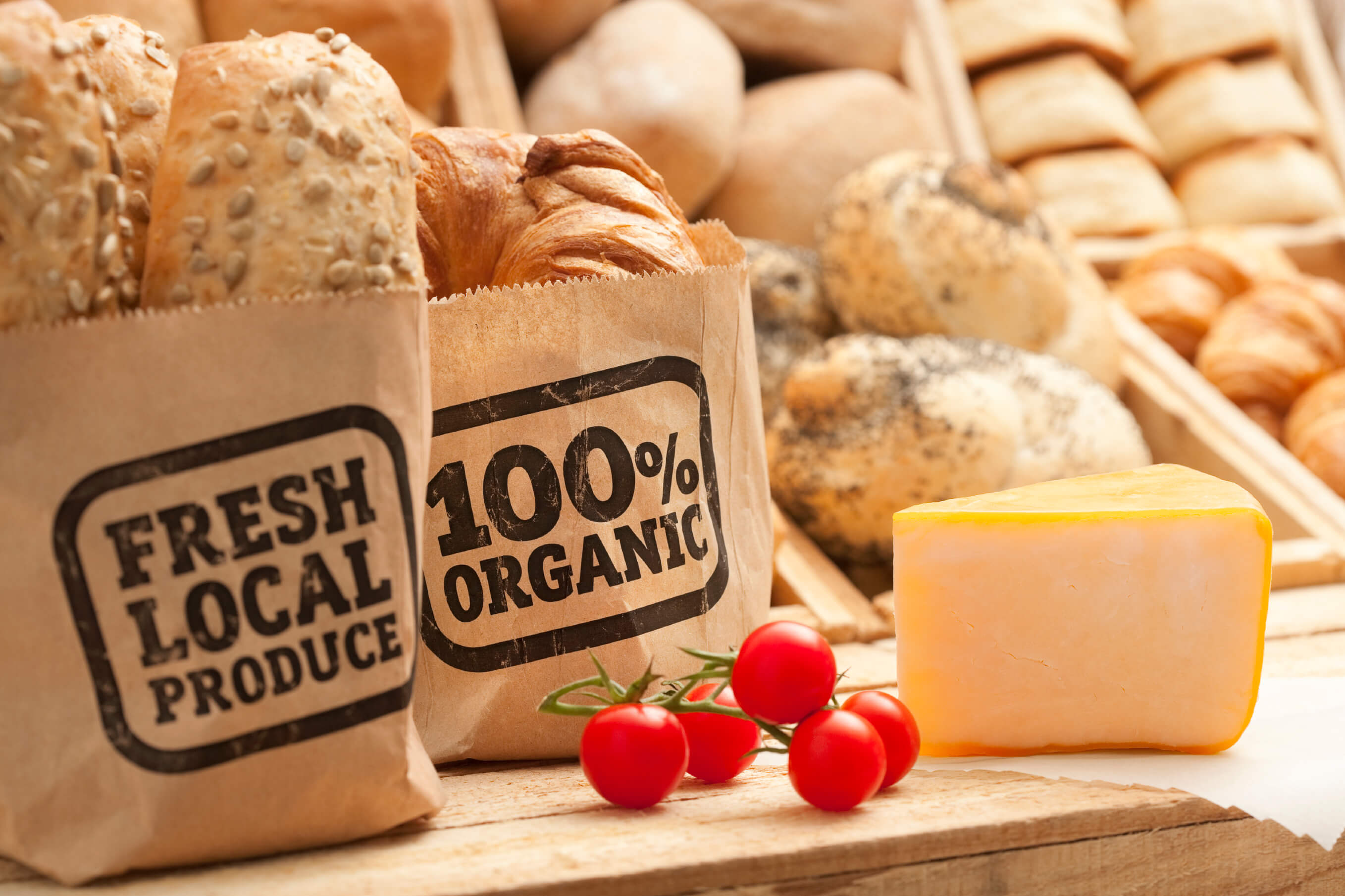 Bags of local produce on food stand