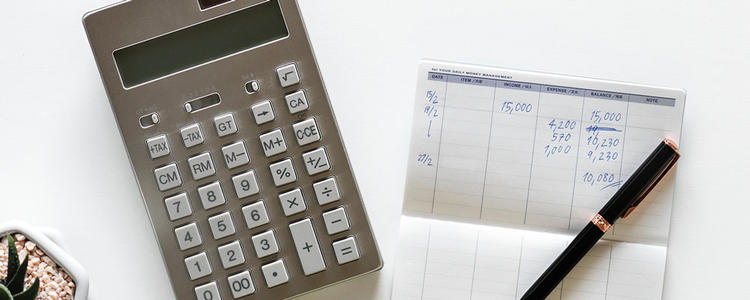 calculator, tax book