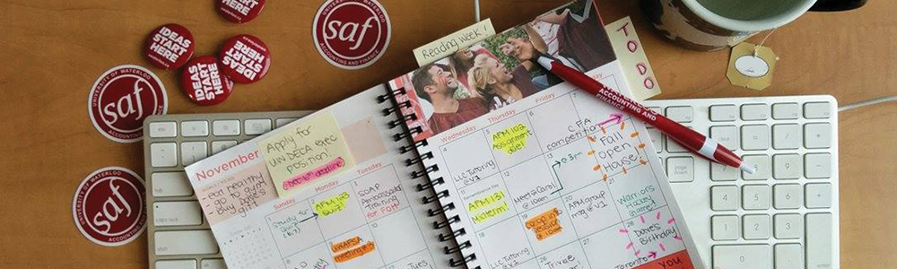 Birdseye view of a filled agenda to show a day in the life of an AFM