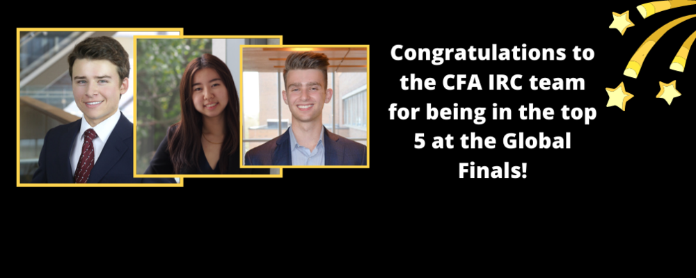 SAF's CFA IRC student team: Brendan, Anna, Noah compete at the Global Finals