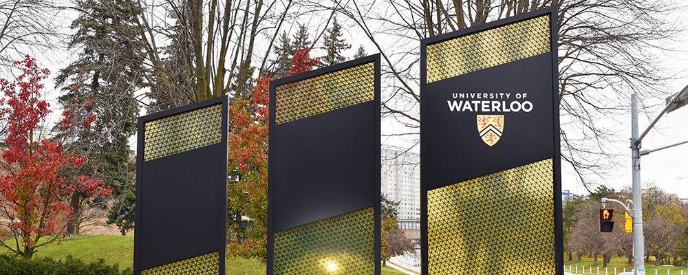 Image of UWaterloo Entrance Road signs