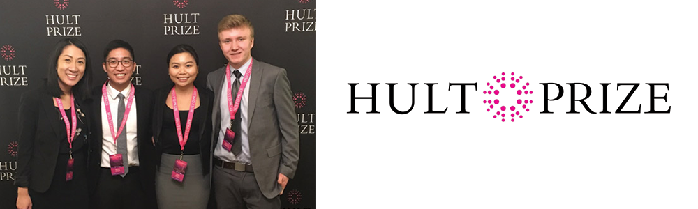 Team Epoch infront of Hult Prize banner at the regional finals.