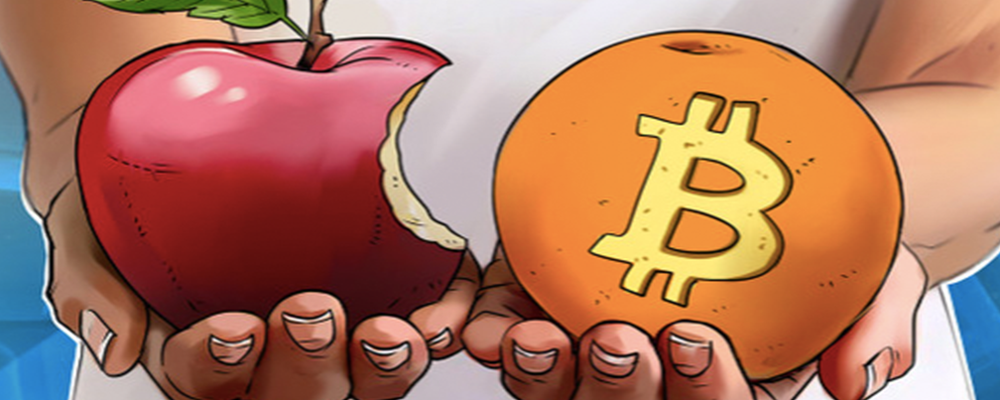 Graphic holding apple in one hand and orange with bitcoin logo in the other