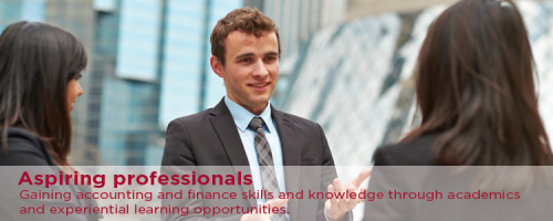 Aspiring professionals. Gaining accounting and finance skills and knowledge through academics and experiential learning opportunities.