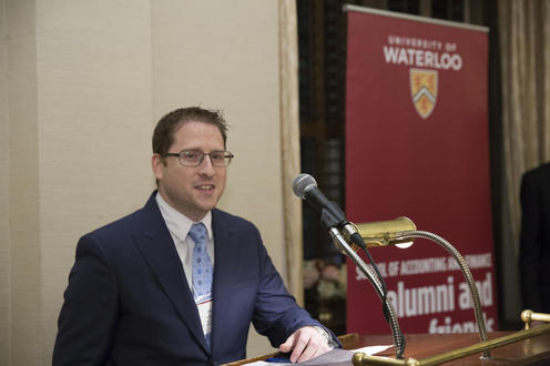 Speaker at podium at CFE 2017 Celebration