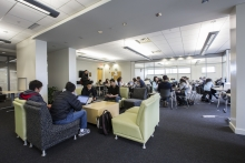 Open concept, the CPA Student Lounge is equipped with comfy chairs, tables, and quiety study areas.