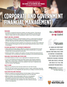 Corporate and Government Financial Management Employer Information Package