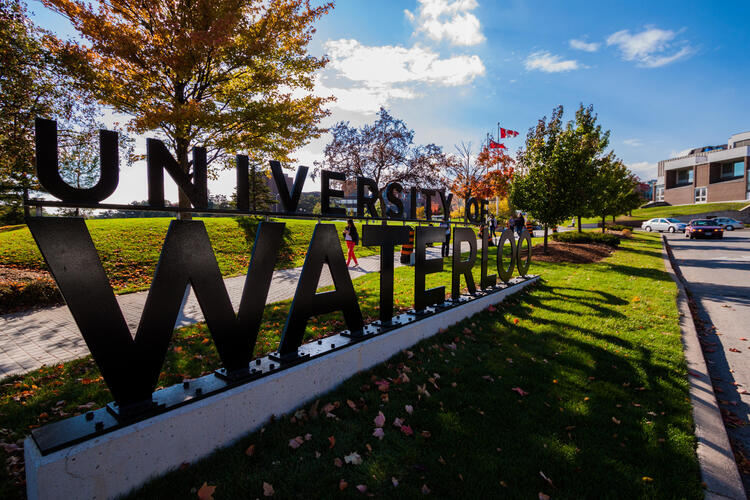 Picture of the University of Waterloo road sign