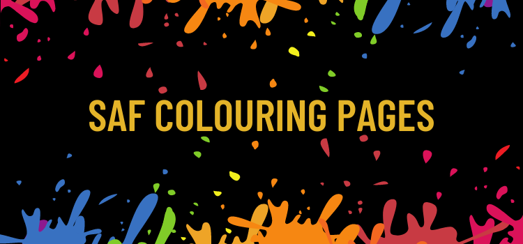 """Banner with colour splashes and """"SAF COLOURING PAGES"""""""