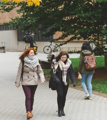 A photo of students on campus in fall term