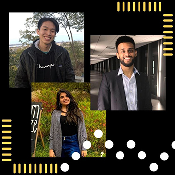 Photo of Jeffrey, Khushboo, and Soham