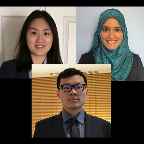 Amanda F., Fatima N. (AFM), and Kelvin Z., AFM students