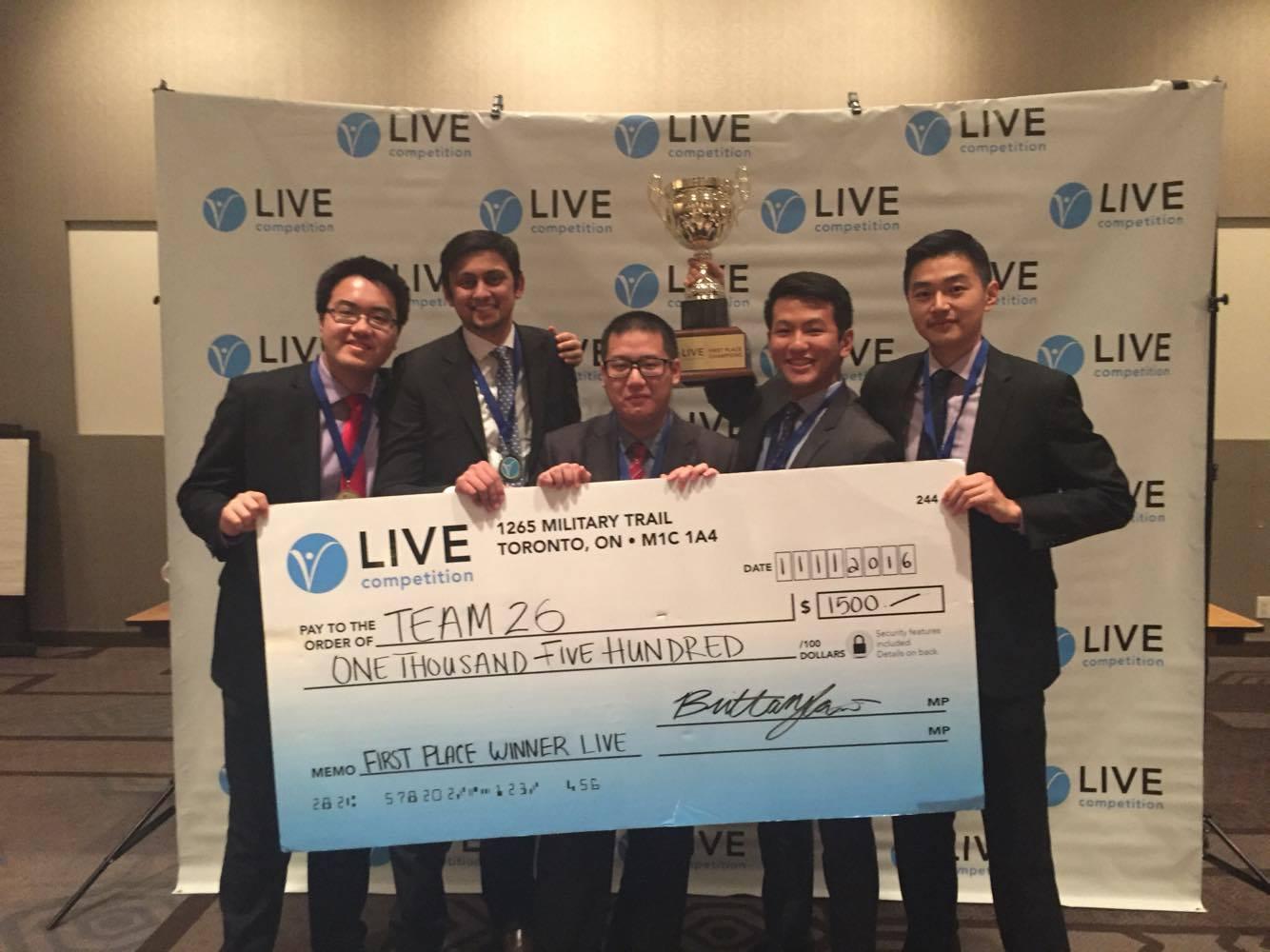 Edison Cheung (AFM), Hasanain Habib-Nayany (AFM), David Zhang (AFM), Arthur Huang (AFM), Angus Cao (AFM) holding $1500 prize