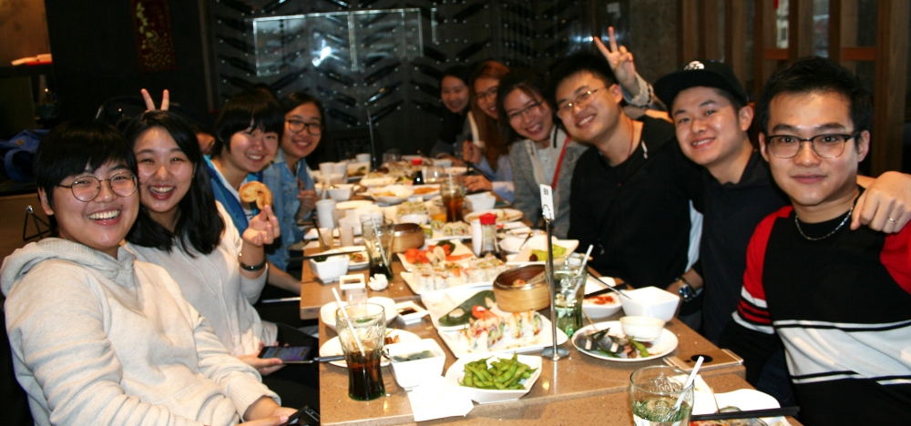Some students and alumni celebrate the lunar new year over a sushi lunch.