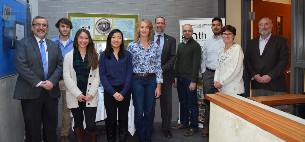 Waterloo administration and students celebrate World Mining Competition Award.