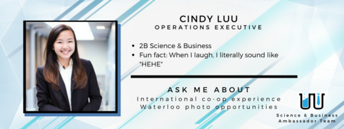 """When I laugh, I literally sound like """"HEHE"""". Ask me about international co-op experience and Waterloo photo opportunities."""