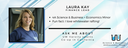 I love white-water rafting! Ask me about UW Varsity sports and co-op in California.