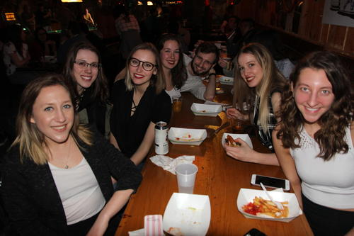 Third-year Science and Business students enjoying free food and conversation at SBSA's Winter 2018 End of Term event at a local restaurant (Chainsaw) in Uptown Waterloo. The event finished with lively karaoke.