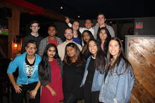 Friends in their second year of Science and Business enjoying some time together and away from classes at SBSA's Annual Wings with Professors event during the Fall 2017 term in Uptown Waterloo.