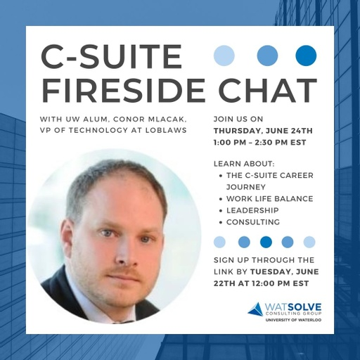 WatSolve C-Suite Fireside Chat infographic.