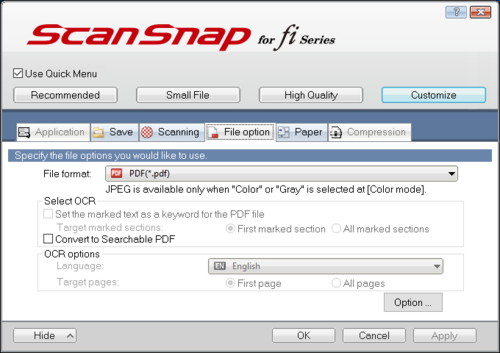 Screenshot showing that the file format is set to PDF and the Convert to Searchable PDF box is unchecked.