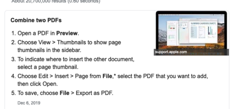 PDF merging instructions for Mac users.