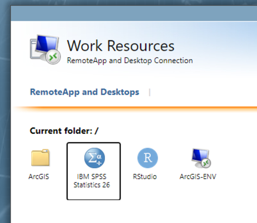 """The icon is labeled """"IBM SPSS Statistics 26"""" in this screenshot."""