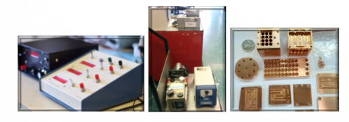 electronic timer, vacuum pumps and assortment of small machined pieces