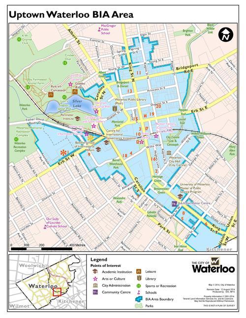 Map of uptown waterloo restaurants