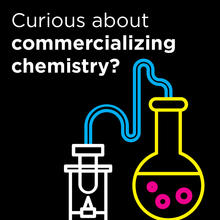Curious about commercializing chemistry? with sketch of test tube connected to a flask