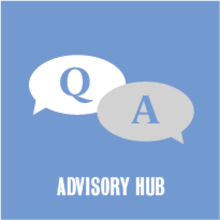 Q & A advisory Hub with two thought bubbles