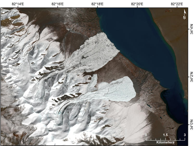 LANDSAT-8 image (obtained October 14, 2016) of the July (upper) and September (lower) glacier collapses in Western Tibet.