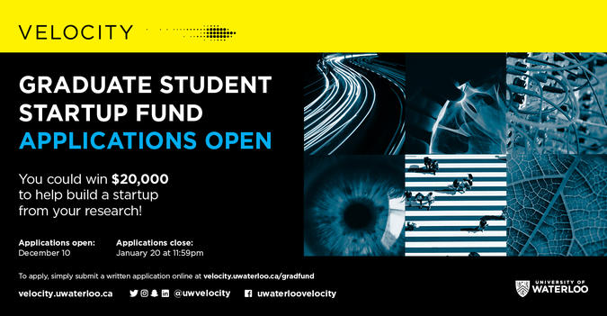 Velocity Grad Student Startup Fund Application Poster