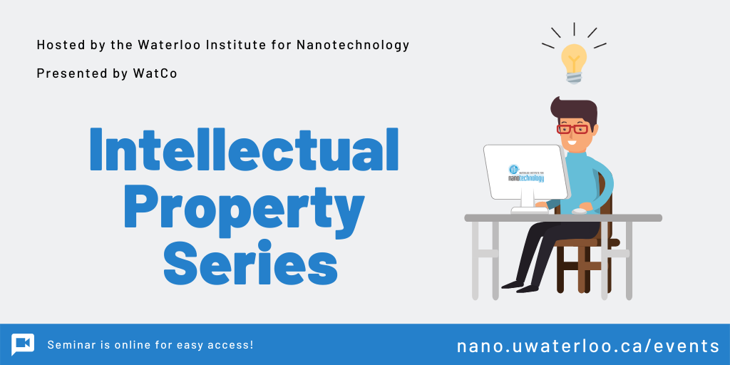 WIN and WatCo Intellectual Property Series poster with cartoon of man sitting at a computer