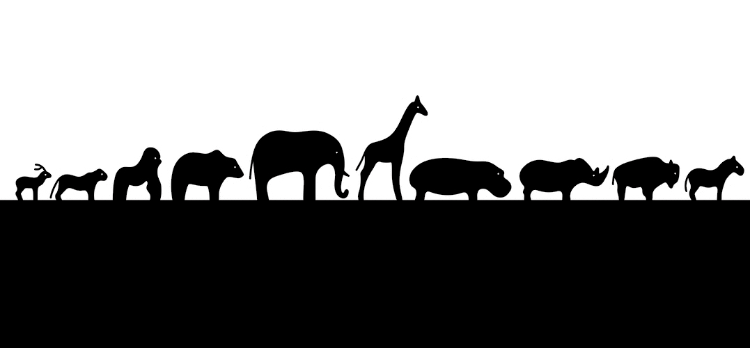 Silhouette of different animals marching in single file.