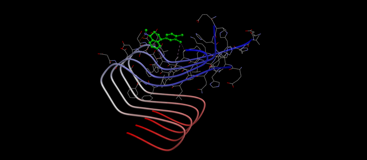SSRI binding to string of amyloid beta