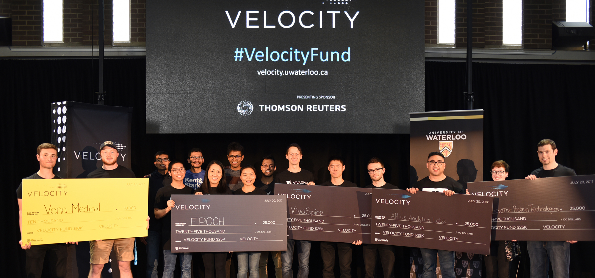 Spring 2017 Velocity Fund Final $25,000 competition winners with large cheques.
