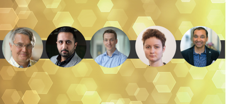 Headshots of all five Waterloo professors receiving JELF funding on a yellow honeycone background