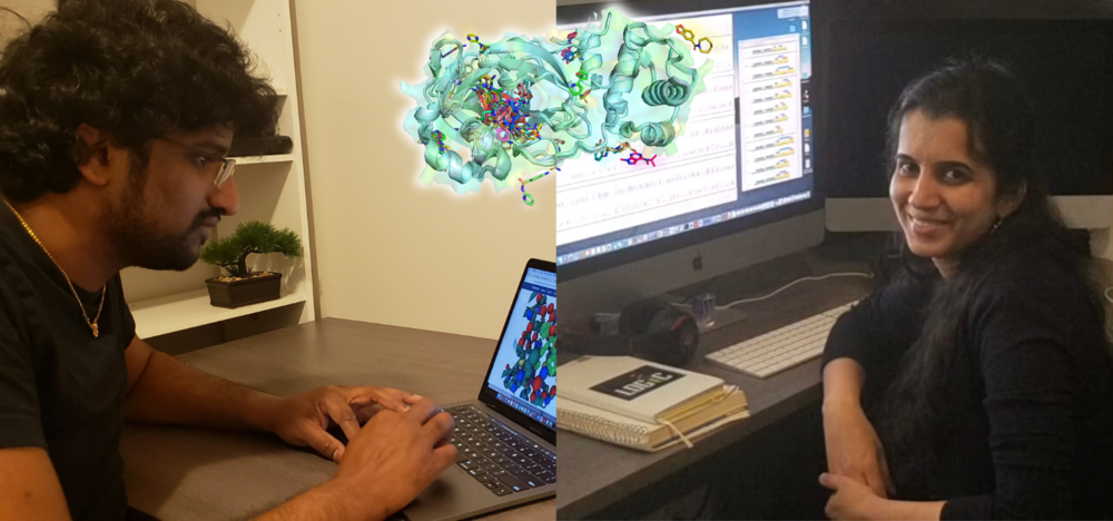 Professors Aravindhan Ganesan and Subha Kalyaanamoorthy at their computers, with a computerized model of the COVID virus