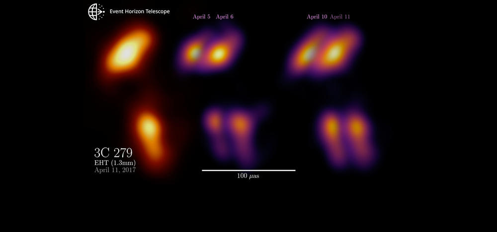 Quasar 3C 279 core, and timeline of images showing movement over a week