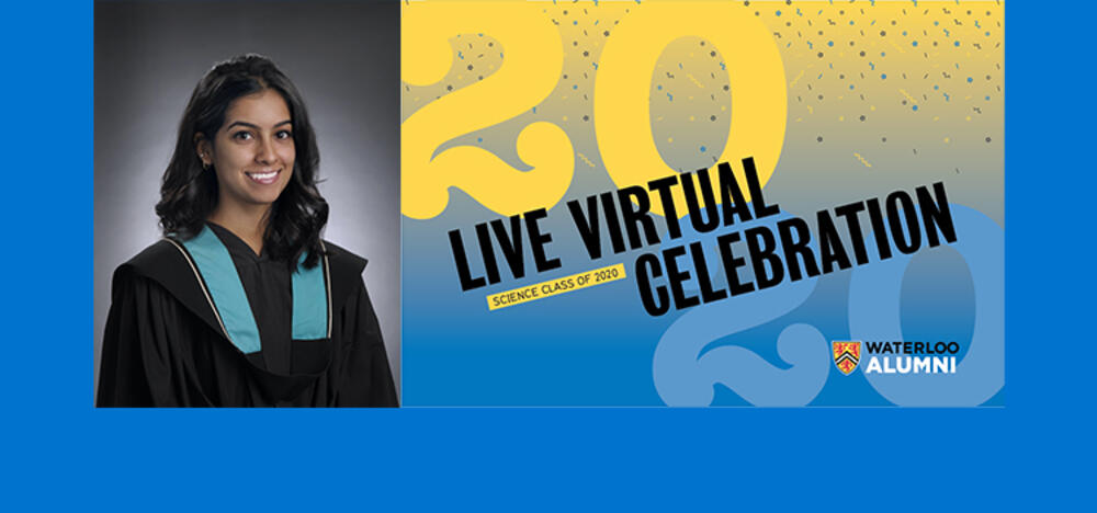 2020 Live Virtual Celebration science class of 2020 graphic, alongside a photo of the valedictorian